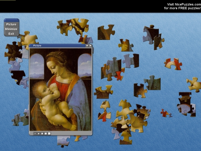 Nice puzzles with lots of Leonardo`s works.